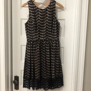 Women's cocktail dress black lace overlay 6